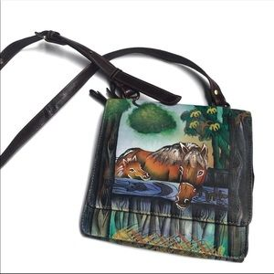 SHARIF Hand Painted Horse Leather Crossbody Bag